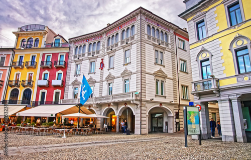 Fotografie, Obraz Piazza Grande in city center in Locarno of Ticino Switzerland