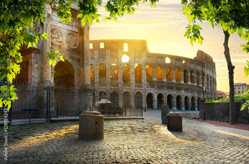 Colosseum and Arch Canvas Print