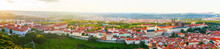 Panorama Of The Old Part Of Prague From The Petrin Tower. Beautiful View On The Strahov Monastery And Prague Castle At Sunset. Old Town Architecture, Czech Republic. Aerial View