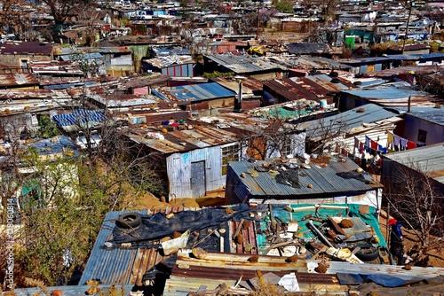 Hütten aus Wellblech in Soweto, Johannesburg, Südafrika