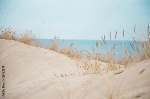 Foto  Beautiful white sand dunes at the sea beach