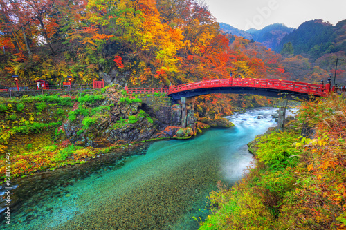 Poster Kaki Shinkyo Bridge during autumn in Nikko, Tochigi, Japan