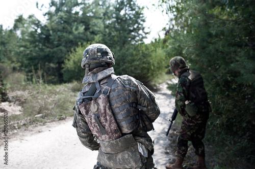 military in ambush Canvas Print