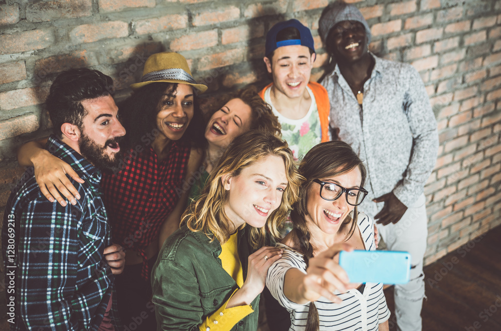 Fototapety, obrazy: Happy group of friends in the living room