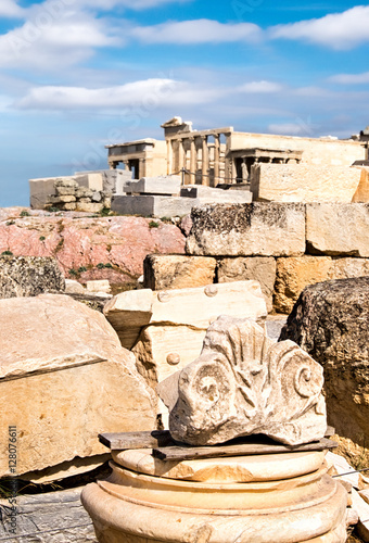 Staande foto Athene Old stones and pieces of columns on the top of Acropolis, Athens