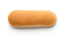 Hot Dog Bun Isolated On White Background. Top View.