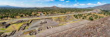 View From Above Of Dead Avenue And Moon Pyramid At Teotihuacan Ruins - Mexico City, Mexico