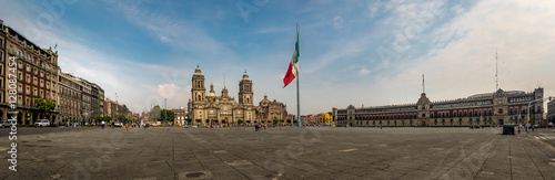 Foto auf Leinwand Mexiko Panoramic view of Zocalo and Cathedral - Mexico City, Mexico