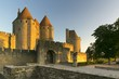 Carcassonne medieval city at sunset, France