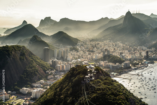 View of misty Rio de Janeiro city by sunset from the Sugarloaf Mountain