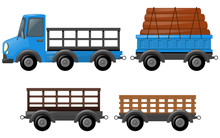 Blue Truck And Different Designs Of Carts