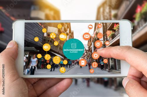Fotografía  Data Management Platform (DMP) , Marketing and crm concept