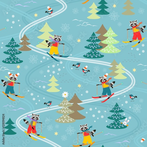 Cotton fabric Cute funny raccoons on skiing. Winter seamless pattern.