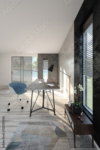 Home office interior (3d render)