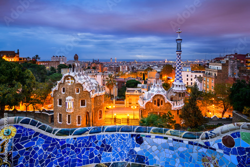 plakat Park Guell in Barcelona, Spain at night