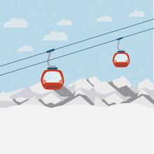 Ski Lift Gondolas Moving In Snow Mountains