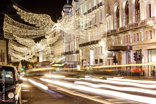 Photo  Christmas lights on Regent street in 2016 in  London