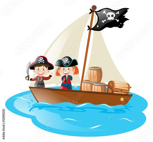 Two pirates sailing at sea