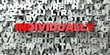 INDIVIDUALLY - Red text on typography background - 3D rendered royalty free stock image. This image can be used for an online website banner ad or a print postcard.