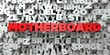 MOTHERBOARD - Red text on typography background - 3D rendered royalty free stock image. This image can be used for an online website banner ad or a print postcard.