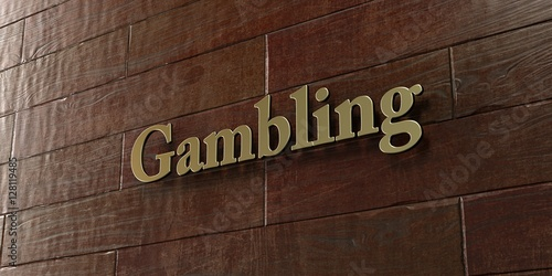 Gambling - Bronze plaque mounted on maple wood wall  - 3D rendered royalty free stock picture плакат