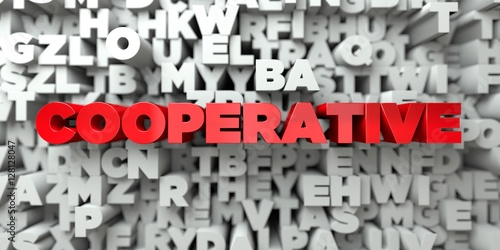 COOPERATIVE -  Red text on typography background - 3D rendered royalty free stock image Canvas-taulu