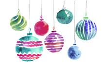 Christmas Bulbs Hand Made Watercolor Illustration. Xmas Ball Dec