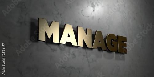 Fotografie, Obraz  Manage - Gold sign mounted on glossy marble wall  - 3D rendered royalty free stock illustration