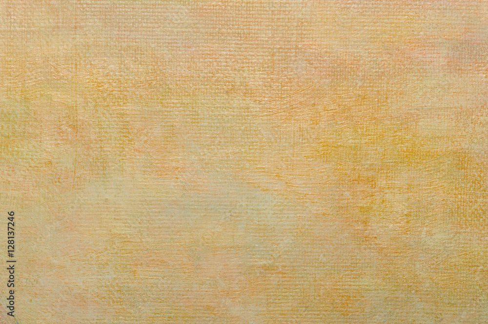 Fototapety, obrazy: Abstract light yellow vintage oil painting background on canvas  with brush strokes.