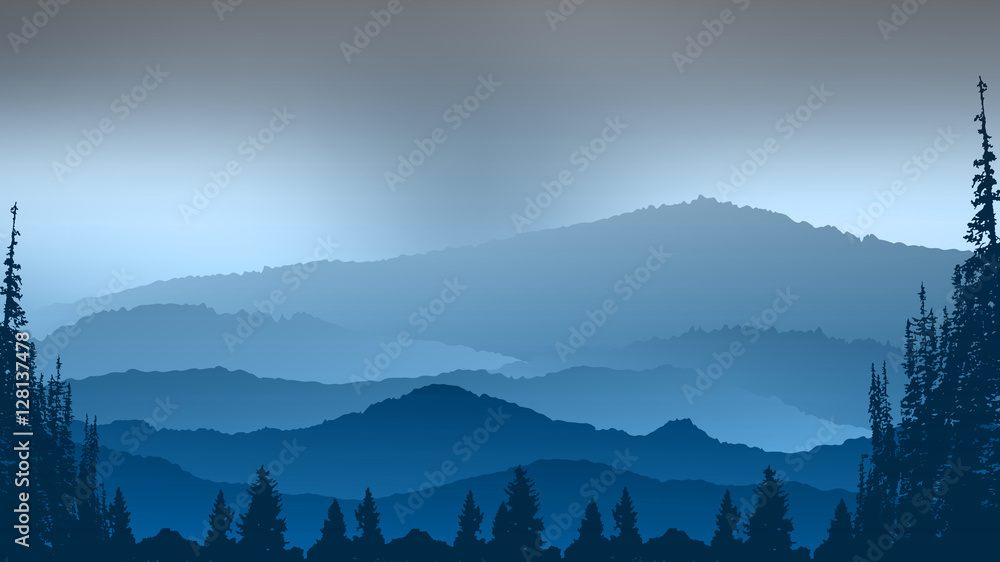 Landscape with tree and mountains abstract background.