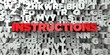 INSTRUCTIONS - Red text on typography background - 3D rendered royalty free stock image. This image can be used for an online website banner ad or a print postcard.
