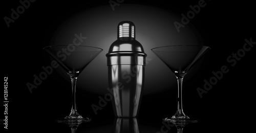 Fotografia  3d rendering metal shaker and cocktail glass backlight on black background