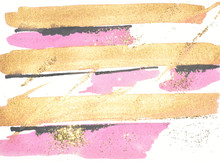 Abstract Gold, Pink And Black Watercolor Stripes And Golden Glitter On White Background.