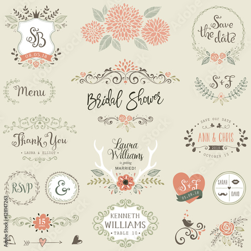 Hand drawn Bridal Shower and Wedding collection with typographic design elements Fototapete