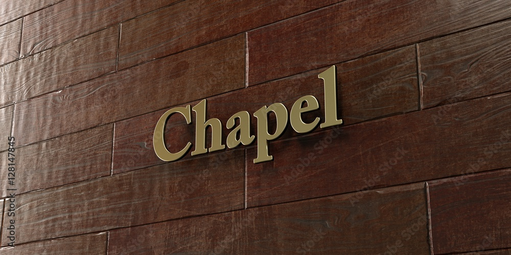 Fototapety, obrazy: Chapel - Bronze plaque mounted on maple wood wall  - 3D rendered royalty free stock picture. This image can be used for an online website banner ad or a print postcard.