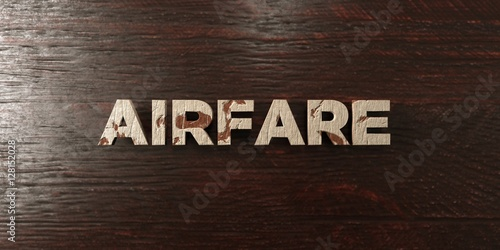 Airfare - grungy wooden headline on Maple  - 3D rendered royalty free stock image Canvas Print