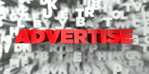 Fotografía  ADVERTISE -  Red text on typography background - 3D rendered royalty free stock image
