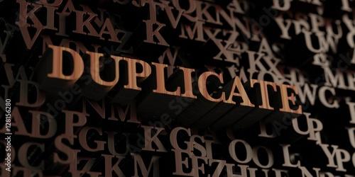 Fotografie, Obraz  Duplicate - Wooden 3D rendered letters/message
