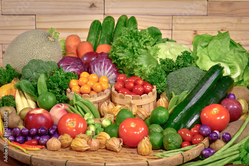 Fotobehang Groenten Arrangement various fresh fruits and vegetables organic for healthy