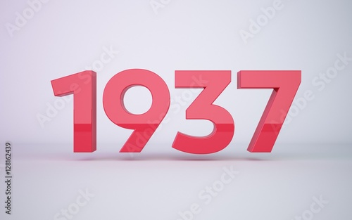 Valokuvatapetti 3d rendering red year 1937 on white background