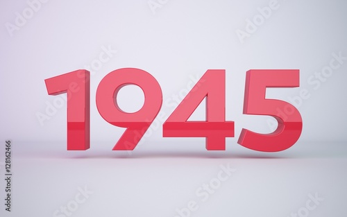 Fotografia  3d rendering red year 1945 on white background