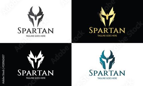 spartan logo design template helmet logo design concept vector