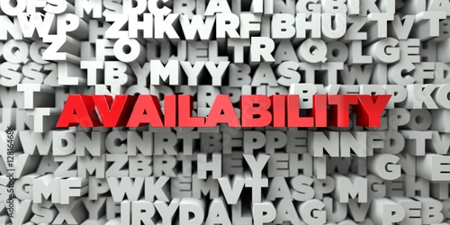 AVAILABILITY -  Red text on typography background - 3D rendered royalty free stock image Wallpaper Mural