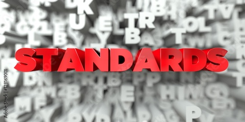 Stampa su Tela STANDARDS -  Red text on typography background - 3D rendered royalty free stock image