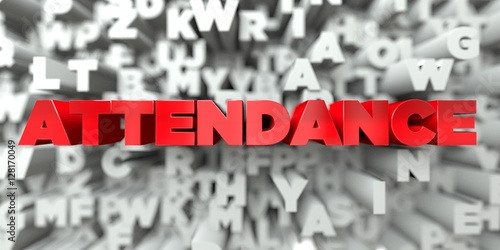 Photo ATTENDANCE -  Red text on typography background - 3D rendered royalty free stock image