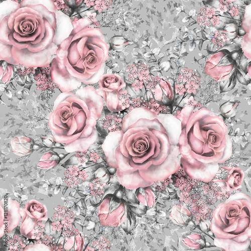 bezszwowy-wzor-z-rozowymi-kwiatami-i-liscmi-na-szarym-tle-akwarela-kwiecistym-wzorze-kwiat-wzrastal-w-pastelowym-kolorze-bezszwowy
