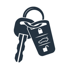 Car Lock Key Isolated Icon On White Background, Auto Service, Re