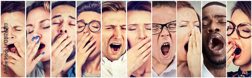 Photo Multiethnic group of sleepy people women men yawning looking bored