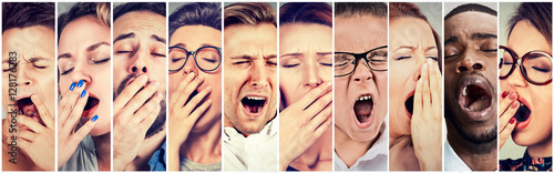 Cuadros en Lienzo Multiethnic group of sleepy people women men yawning looking bored
