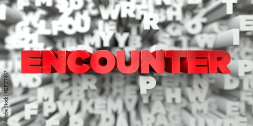 Valokuva  ENCOUNTER -  Red text on typography background - 3D rendered royalty free stock image